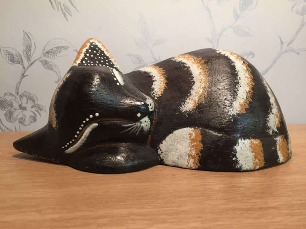 Sleeping Kitten - Wooden Cat Decorative Ornament - Large